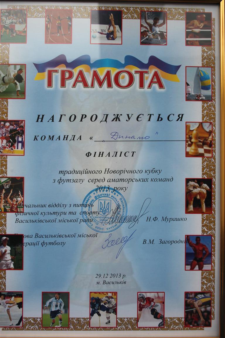 Фіналіст Новорічного кубку м. Василькова 2013 р. по футзалу