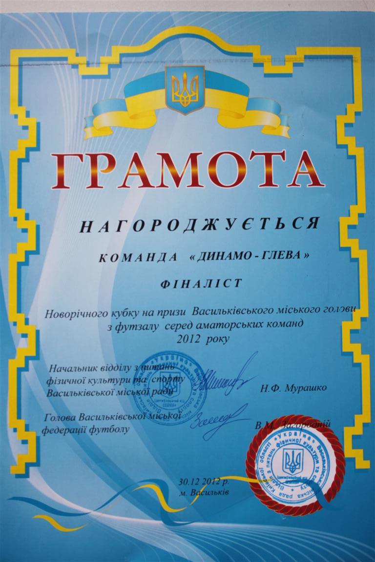 Фіналіст Новорічного кубку м. Василькова 2012 р. по футзалу